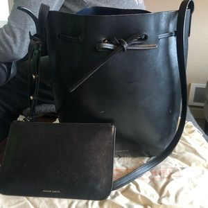 Mansur Gavriel Black Bucket Bag w/ Navy Interior